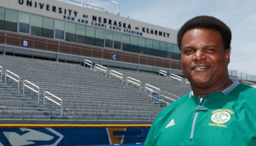 "Rashawn Harvey is one of the assistant coaches in Saturday's Nebraska Shrine Bowl. ""Football was the vehicle that ultimately allowed me to get a college degree. Without football, I probably wouldn't have left Stuart, Florida,"" said Harvey. (Photo by Corbey R. Dorsey, UNK Communications)"