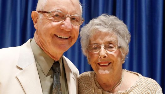 Richard and Barbara Bush of Kearney were recognized during Friday's UNK commencement ceremony with the Ron and Carol Cope Cornerstone of Excellence Award. (Photo by Corbey R. Dorsey, UNK Communications)