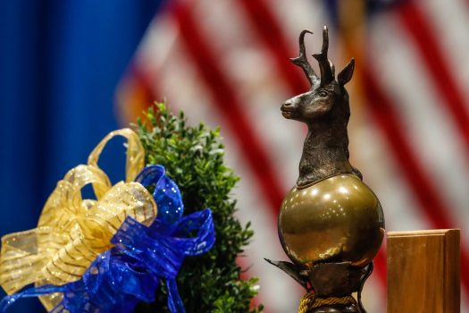 UNK's ceremonial mace has been part of UNK's commencement celebration for more than 30 years. (Photo by Corbey R. Dorsey, UNK Communications)