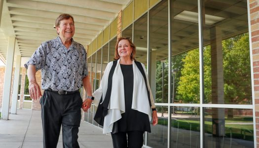 """It's very rare – very rare – for a couple to find jobs they both love at the same university,"" said Kenya Taylor. ""We feel really fortunate that we were able to have jobs that we really like for all these years in the same place."" The husband-wife team of William Jurma and Taylor have worked at UNK a combined 42 years. (Photo by Corbey R. Dorsey, UNK Communications)"