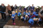 Children from UNK's Child Development Center join other dignitaries Friday morning during a ceremonial groundbreaking for UNK's new LaVonne Kopecky Plambeck Early Childhood Education Center. (Photo by Corbey R. Dorsey, UNK Communications)