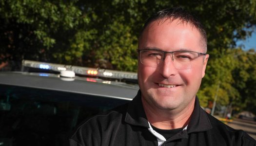 Following a 24-year career with the Kearney Police Department, Kyle Harshbarger has joined the University of Nebraska at Kearney Department of Criminal Justice as a full-time lecturer. (Photo by Corbey R. Dorsey, UNK Communications)