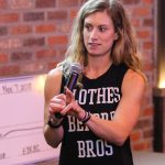 Jenn Nolda, who owns Press On Fitness in Kearney, won Big Idea Kearney's community division with her Energybank app, which tracks users' physical activity through smartphones or wearable technology and creates a reward system that allows them to redeem points at businesses. (Photo by Todd Gottula, UNK Communications)
