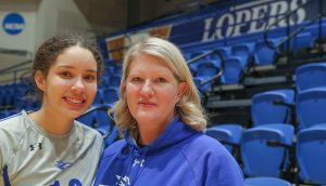 "UNK volleyball player Julianne Jackson comes from a long line of athletes in her family, including her mother Dawn, who played volleyball at Pittsburg State. ""It's really cool for us as parents to watch them play,"" Dawn said. ""I almost cry every time I watch her."" (Photo by Corbey R. Dorsey, UNK Communications)"