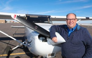 Terry Gibbs, director of UNK's aviation program, has been a licensed pilot for nearly 40 years. The former electrical engineer started an aviation training and charter business with a co-worker in Arizona before joining UNK in 1992. (Photo by Corbey R. Dorsey, UNK Communications)
