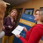 UNK Student Health and Counseling Associate Director Kiphany Hof, right, and Director Wendy Schardt, left, talk with a student in their UNK office. Nearly 400 clients made close to 1,000 visits during the first four months of the academic year – a roughly 40 percent increase in total sessions compared to the same period in 2017.