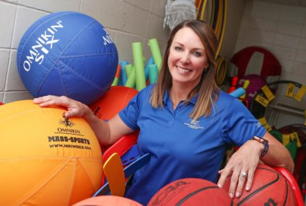 Associate professor Megan Adkins-Bollwitt, who chairs UNK's health and physical education program, says fitness should be fun for PK-12 students so it translates to a lifetime of benefits. UNK's program prepares students to be effective physical education instructors by introducing them to a variety of teaching methods and emphasizing hands-on training. (Photo by Corbey R. Dorsey, UNK Communications)