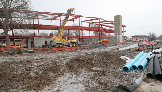 Workers are erecting the steel frame for the 90,000-square-foot STEM building on the UNK campus. The cutting-edge facility is scheduled for completion in spring 2020. (Photo by Corbey R. Dorsey, UNK Communications)
