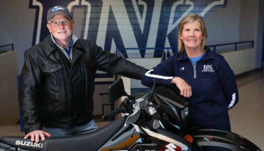 Ed and Eve Scantling plan to have a little fun after they retire from UNK this summer. Motorcycle rides, skiing, camping trips and a vacation in Costa Rica are all on the itinerary. (Photo by Corbey R. Dorsey, UNK Communications)