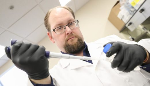 Joe Dolence, an assistant professor of biology at UNK, is studying peanut allergy with hopes of developing a better treatment strategy for the health issue. (Photo by Corbey R. Dorsey, UNK Communications)
