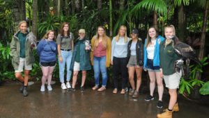 Six UNK students traveled to Australia last month through a new study abroad program. The students, pictured at the Australia Zoo, studied at the University of the Sunshine Coast near Brisbane. (Courtesy photo)