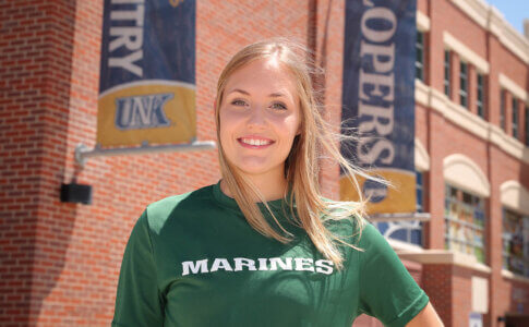 Ooh-rah! – UNK cheerleader training to be Marine Corps officer